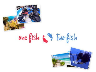 One Fish Two Fish Logo company one fish two fish scuba diver coral reef mexico conservation scuba logo