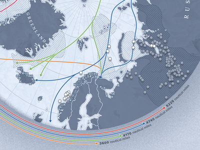 Mapping the Arctic - Close up oil field north routes oil shipping arctic north pole map