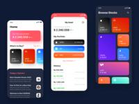 Stock Exchange App - A Playful Approach value portfolio asset colorful nike fintech app market stocks fintech stock market brand