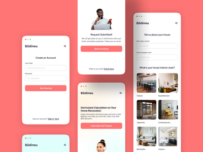 Home Renovation Website 🏠 - Mobile UI interior walkthrough registration sign up form website productdesign web design mobile ui ui design interiordesign