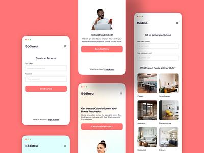 Home Renovation Website 🏠 - Mobile UI interior walkthrough registration sign up form website productdesign web design mobile ui ui design interiordesign