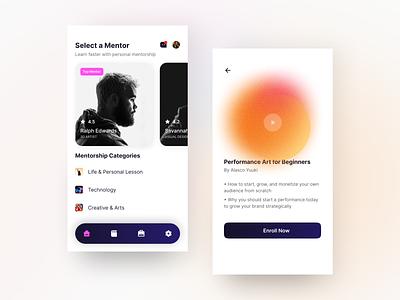 Mentorship App Design course class mentorship interface ui minimal blur gradient app design product design