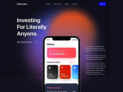 Stock Investing Website Homepage investing financial stocks stock dark dark mode interface gradient landing page web design