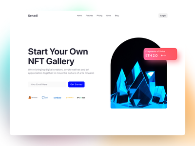 NFT Platform Website 3d 2d minimal ux ui concept landing page web design blockchain token nft crypto