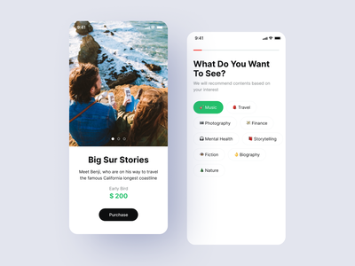 Preference Selector UI uiux travel app mobile productdesign content travel selector onboarding 2d