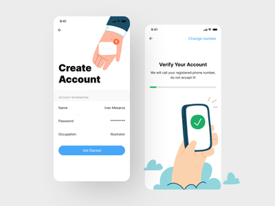 Sign Up UI Account illustration daily interface logo mobile app verification register product design sign up