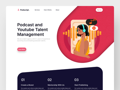 Podcast Talent Agency Landing Page podcasting podcaster youtuber agency talent podcast web design illustration gradient ux landing page ui