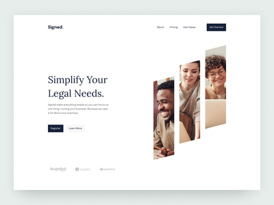 Signed - Notary SAAS Service header white space minimal web design landing page website legal notarize notary