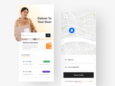 Delivery App Interface gradient interface minimal mobile ui search map delivery