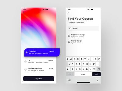 Course App Checkout search page checkout course app 2d mobile design gradient ux ui minimal interface
