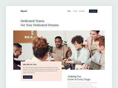 About Us Website Page Design fintech financial design landing page ux ui minimal about us web design about page about