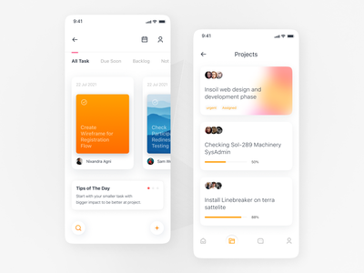 Task Management App minimal interface gradient product design mobile to do list project management app planner task management task