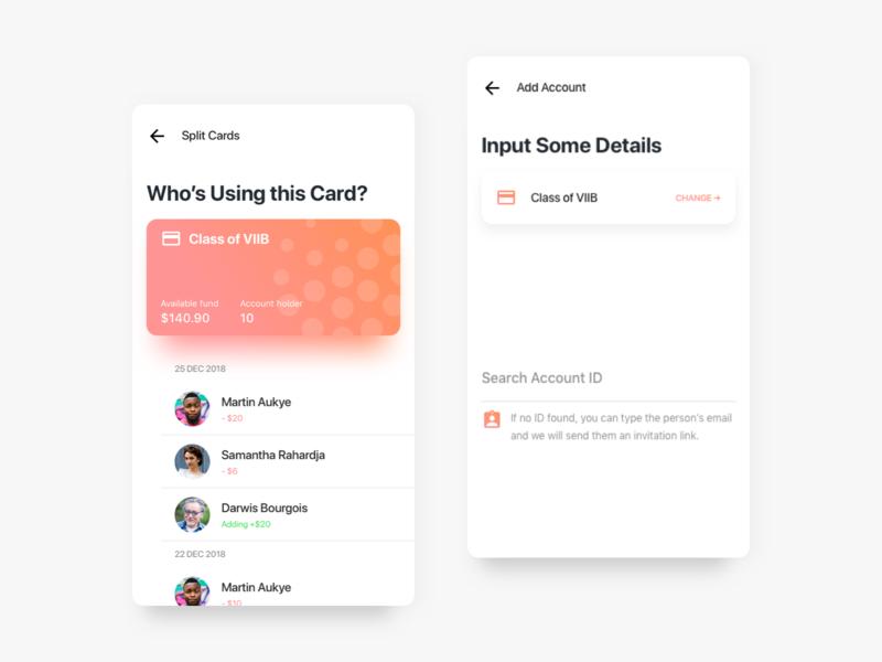 Split Card App Exploration page vector motion gradient white app minimal interface daily ux ui