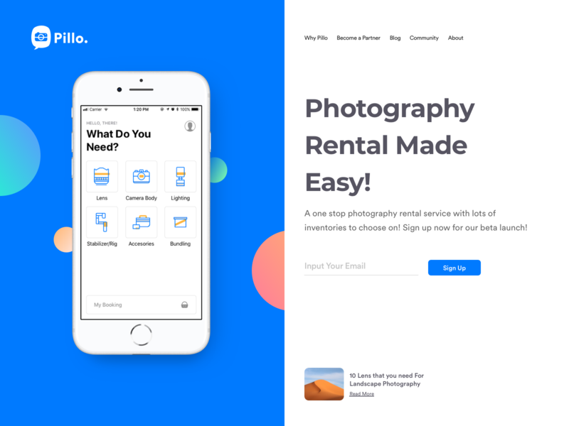 Pillo - Landing Page Header