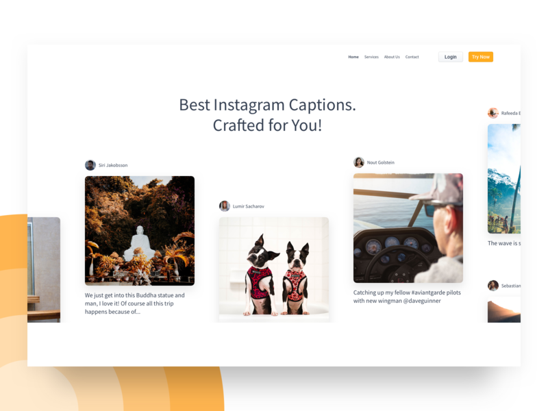 Exploration - Caption Crafter Landing Page Header daily instagram socialmedia landing page minimal header exploration header design hero