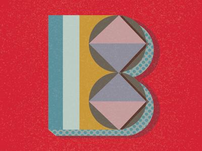 B - Typography design type typography b letter monogram pattern vintage drop cap
