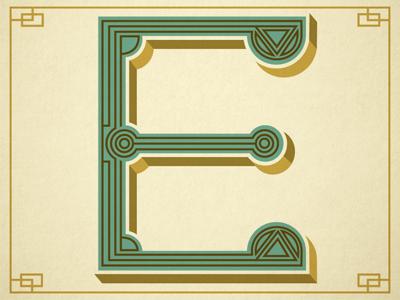 E - Typography design type typography b letter monogram pattern vintage drop cap