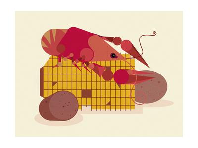 Louisiana Series - Crawfish illustration charley harper mid century modern crawfish
