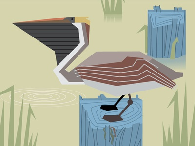 Louisiana Series - Pelican charley harper bird design illustration mid century modern pelican