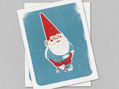 Gnome texture overprint drawing illustration gnome screen print screenprint mid century modern