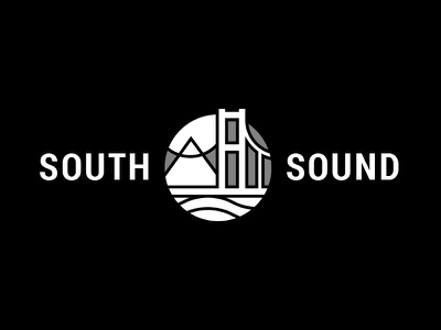 South Sound mountain bridge logo puget sound tacoma narrows mount rainier