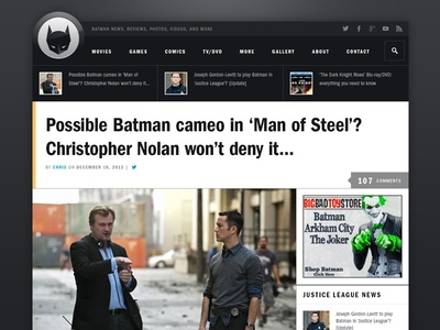 Revised Batman Article Page batman website redesign franklin gothic wordpress
