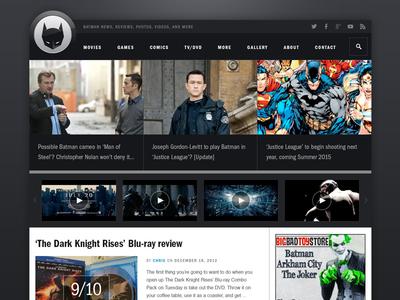 Batman Home batman website redesign franklin gothic wordpress
