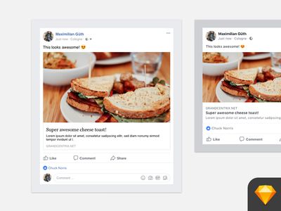 Facebook Post - Link and Image (Sketch Template) share social social-network user-interface ux download symbols resource posts facebook template sketch