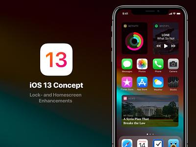 iOS 13 - Lock- and Homescreen Enhancements widget user-interface concept lock screen home screen iphone apple interface ios redesign ios-redesign ios-13