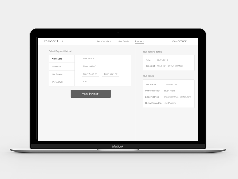 Wireframes of payment screen
