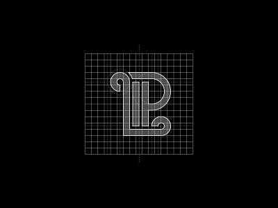 LP construction grid illustration logodesign vector icon typography logotype clean branding simple minimal logo