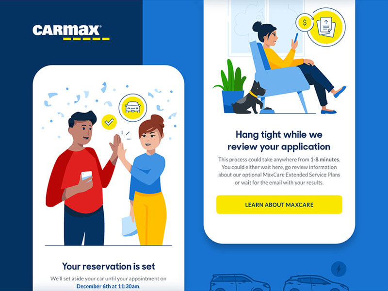 CarMax application icons car ui woman people character design character illustrator illustration