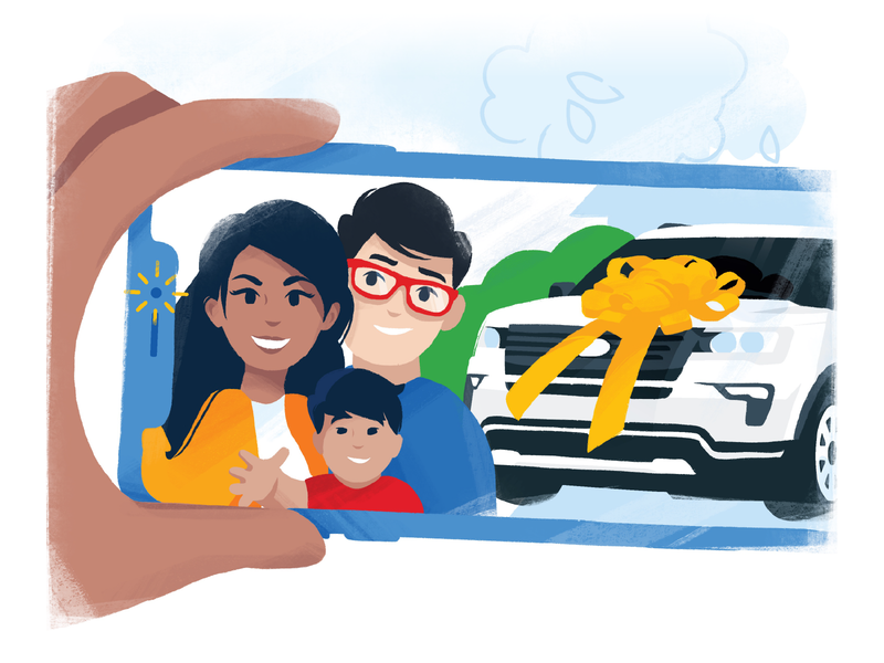 Purchased with CarMax selfie new car family people character design character illustrator illustration