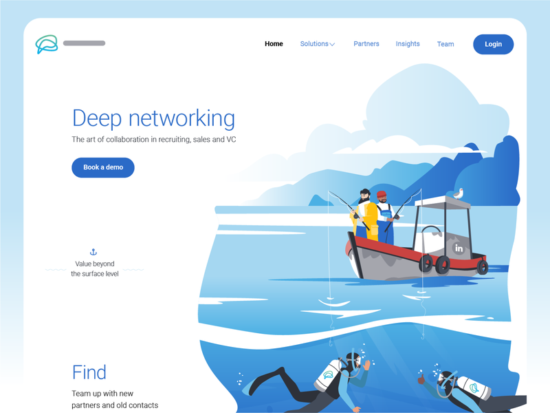Deep Networking — Deep Diving landing page people ui character design character fisherman fishing scuba diver ocean boat illustrator illustraion