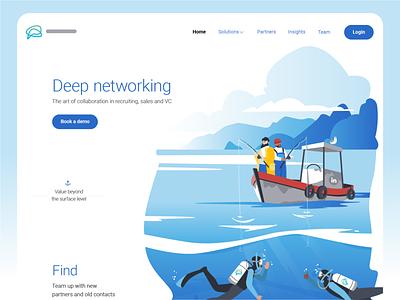 Deep Networking — Deep Diving landing page people ui character design character fisherman fishing scuba diver ocean boat illustrator illustraion