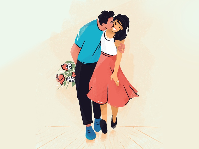 date night flowers couple love woman people character design character illustrator illustration