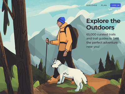 Explore the Outdoors landing page forest mountains hiking nature character dog outdoors character design illustrator illustration