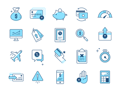 Icons money bank financial finance credit card iconography icons