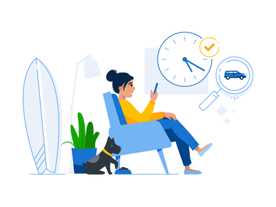 Searching for a new car empty state search mobile home website car dog woman brand illustration character design character illustration