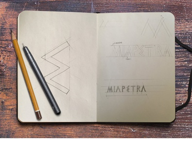 Creative Process: MIAPETRA Logo sketchbook sketch brand identity icon visual identity typography design logotype logo brand branding creative process