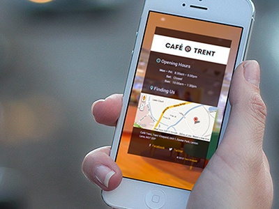 Cafe Trent on iPhone (Close up) cafe website roboto font awesome