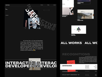Hon Tran Portfolio 001 editorial design editorial ui typography homepage web design minimal landing page website layout vietnam