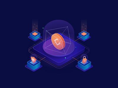 Sunday Practice: Isometric & Gradient (3) blockchain sercurity privacy illustration gradient isometric coin bitcoin crypto crypto currency vietnam