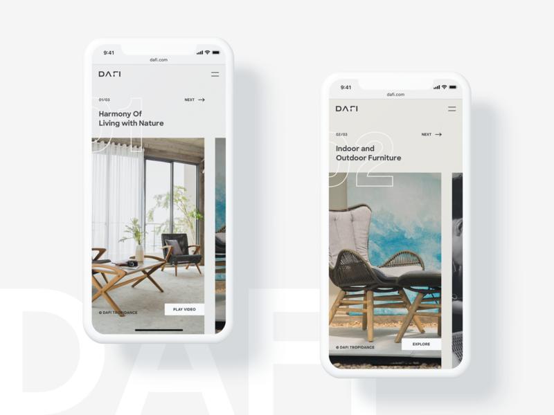 DAFI Furniture Mobile Version responsive mobile landing page homepage layout minimalism minimal designer design table chairs furniture