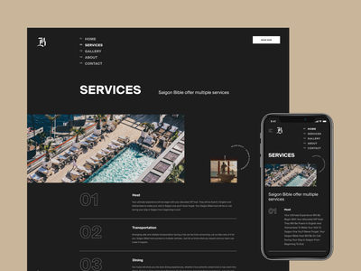 Services Experimental Layout for SB mockup phone mobile responsive list view graphic typography typo dark about us about services experiment experimental exploration layout vietnam