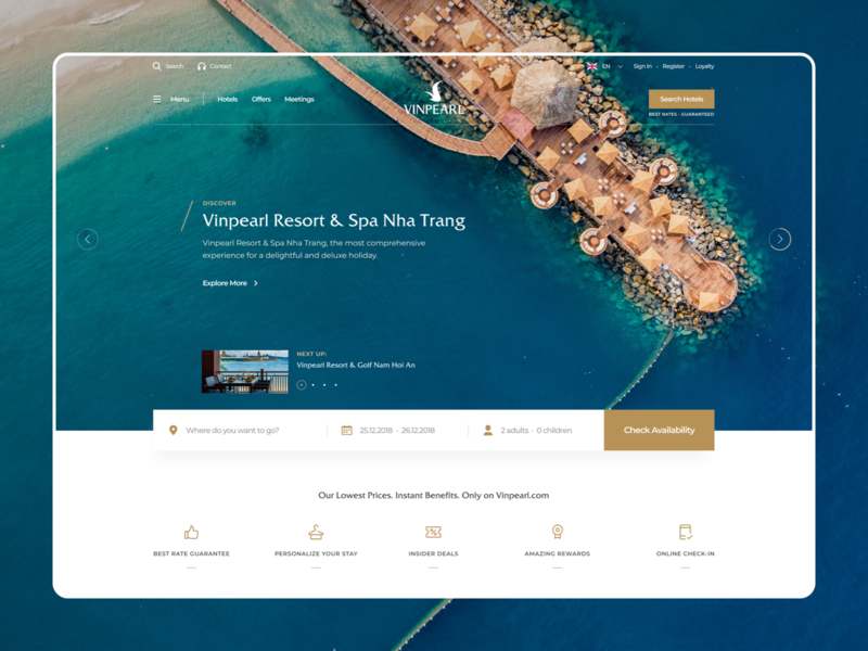 Vinpearl Landing Page Concept homepage ux design ux beach booking book vacation holiday travel landing page web design website ui vietnam