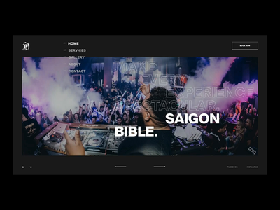 SGBB Home Interaction vietnam homepage slider transition image party event typography experimental effect layout animation ui design web design website interaction