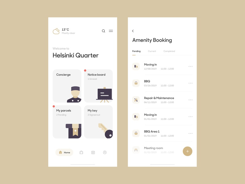 Sunday Practice: Amenity Booking View illustration vietnam app design managing system management tool application booking service hotel minimal simple clean management admin dashboard responsive mobile app admin