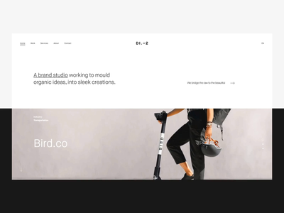 District2 V2 Front Page web design minimal portfolio agency clean layout userinterface ui transition website animation interaction vietnam homepage landing page frontpage