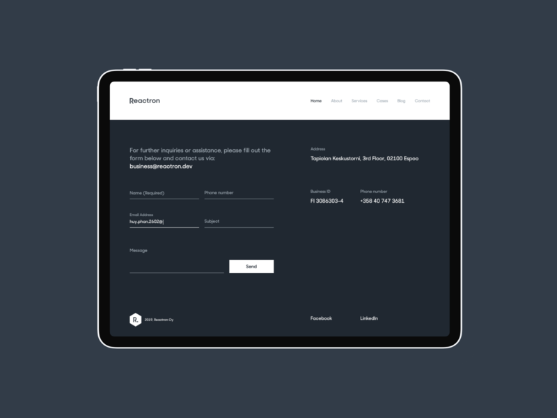 Reactron Website Footer/Contact contact form footer form contact homepage web design clean ui website interaction minimal landing page layout vietnam